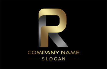 logo letter r ribbon in gold and metal color