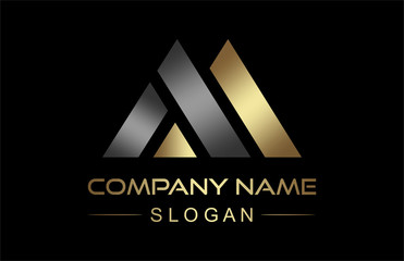 logo letter m triangle in gold and metal color