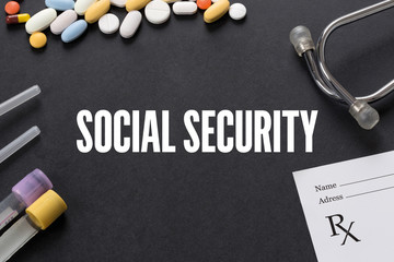SOCIAL SECURITY written on black background with medication