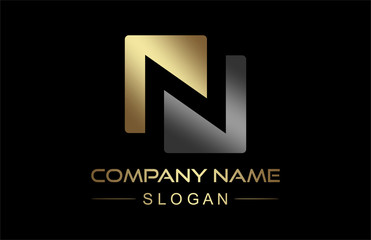 logo letter n in gold and metal color
