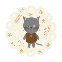 cat , kitten. vector illustration cartoon , mascot. funny and lovely design. cute animal on a floral background. little animal in the children's book character style.