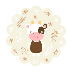 cow. vector illustration cartoon , mascot. funny and lovely design. cute animal on a floral background. little animal in the children's book character style.
