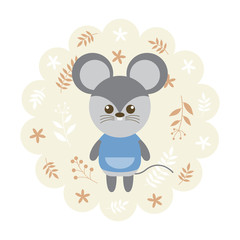 rat , mouse. vector illustration cartoon , mascot. funny and lovely design. cute animal on a floral background. little animal in the children's book character style.