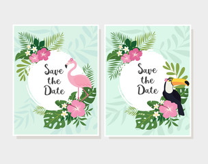 Vector tropical cards set. Cute cartoon cards with tropical leaves, flowers, bids.