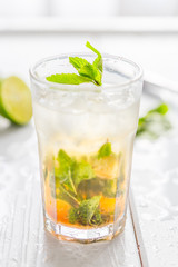 Refreshing Alcoholic Mojito Cocktail Drink at Bar or Pub, Summer Time, vacation Time