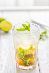 Mojito Lime Drink Cocktail on Light Background