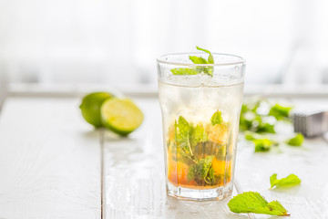 Fresh Mojito Cocktail isolated on a White Wooden Background with Free Space for Your text, Horizontal View