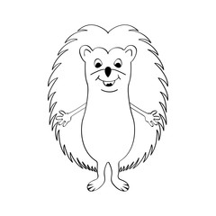 Funny hedgehog sketch drawing, isolated on white background.