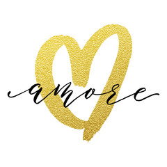 Love Valentine heart gold card Amore text