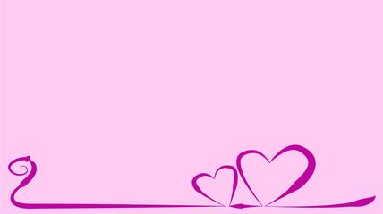 Herzen rosa geschwungen