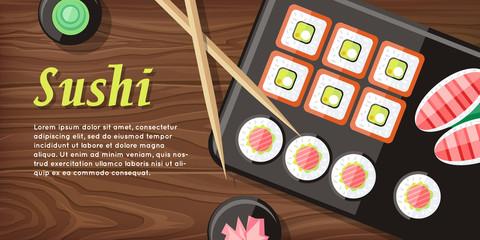 Japanese Food Illustration web Banner. Japan Sushi