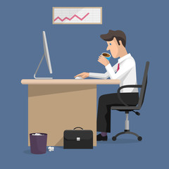Vector flat design illustration of businessman in office