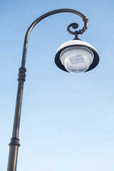 Led street lamp covered with snow