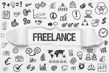 Freelance / weißes Papier mit Symbole