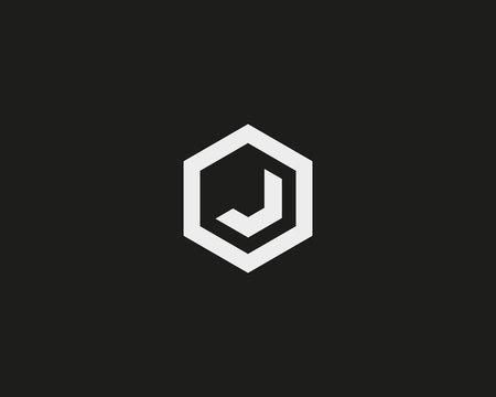 Abstract letter J vector logotype. Line hexagon creative simple logo design template. Universal geometric symbol font icon.