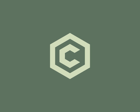 Abstract letter C vector logotype. Line hexagon creative simple logo design template. Universal geometric symbol font icon.