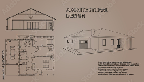 Perspective 3D Floor Plan And Cross Section Suburban House Drawing Of The Building
