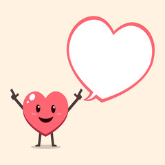Cartoon heart character with speech bubble