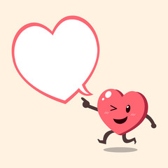 Cartoon heart character with white speech bubble