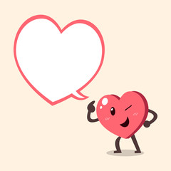Vector cartoon heart character with big speech bubble