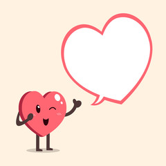 Vector cartoon heart character with speech bubble