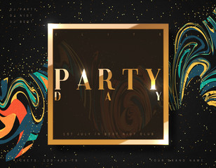 Party day background gold luxury poster. Fashion card with bright abstract vector illustration