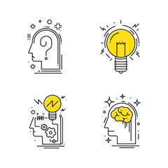Creative idea, Process of think, line icons. vector illustration