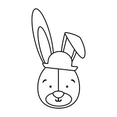 monochrome contour with face of groom rabbit vector illustration