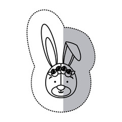sticker monochrome contour and half shadow with face of bride rabbit vector illustration