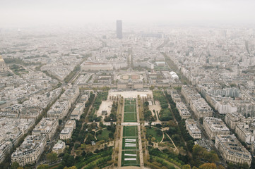 Stunning breathtaking aerial view on Paris