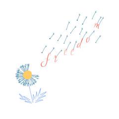 handmade lettering phrase freedom. vector illustration