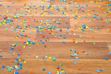 colorful confetti on the floor
