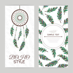 Vintage card. Boho style. Two flyers decorated with feathers and dream catcher with Indian style.