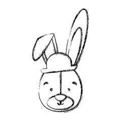 monochrome contour blurr with face of groom rabbit vector illustration