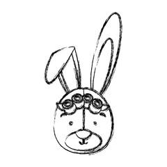monochrome contour blurr with face of bride rabbit vector illustration