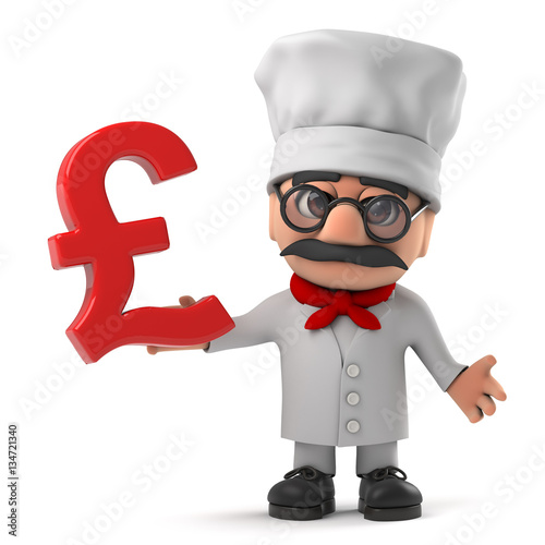 3d Funny Cartoon Italian Pizza Chef Character Has Uk Pounds Sterling