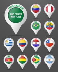 Set the pointer to the map with the flag of South American count