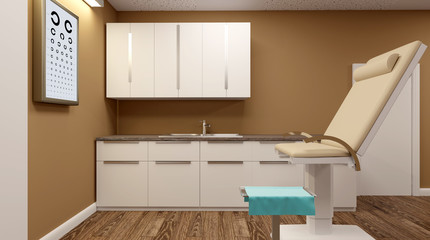 Cabinet ophthalmologist in a military hospital. 3D rendering