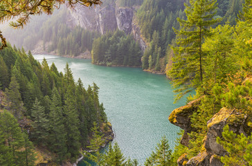 scene over Diablo lake when sunrise in the early morning in North cascade np.