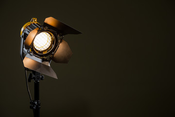 Halogen spotlight with a Fresnel lens. TV, video, photo, shooting