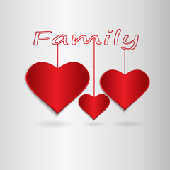 Three red hearts hanging on the word family. Vector illustration