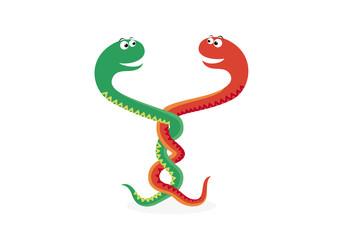 Snake vector illustration. Two entangled snakes. Snake cartoon character