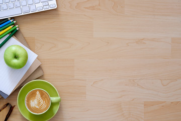 Office desktop with office accessories, Desktop with business objects and snack foods..Hero header Concept.