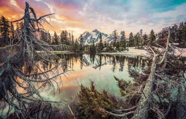 scene of mt. Shucksan with reflection on the lake when sunrise,Washington,usa.