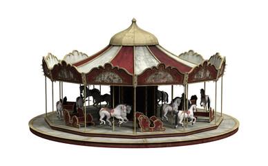 3D Rendering Vintage Carousel on White