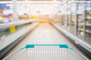 Shopping Cart View in Supermarket Aisle Milk Yogurt Frozen Food