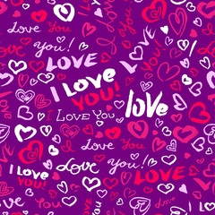 Valentine's day or wedding seamless pattern with hearts and I Love you lettering