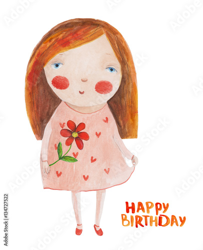 Happy Birthday Girl Illustration ~ Quot girl in pink dress with flower happy birthday hand drawing watercolor illustration