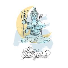Happy Maha Shivratri black line art greeting card design