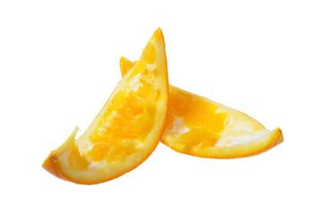 Eaten slice of orange on a white background